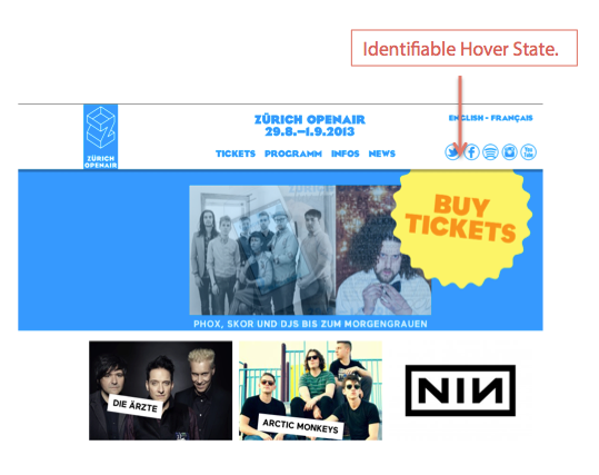 Buy tickets button re-designed with hover state
