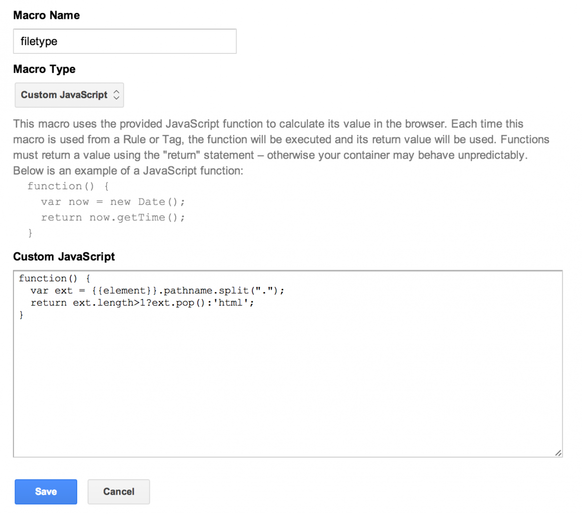 Create Filetype Macro in Google Tag Manager