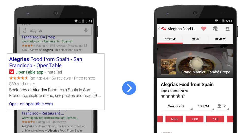 App deep links for Android apps in Google SERPs