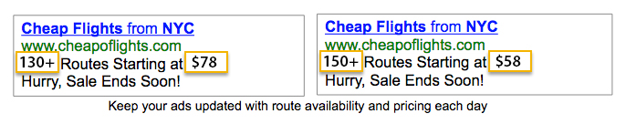 AdWords Ad Customizers: Showing availability and prices
