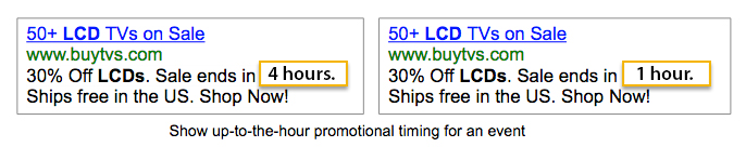 AdWords Ad Customizers: Showing real-time countdown