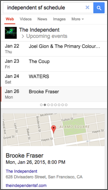 Google Knowledge Graph example for venue events