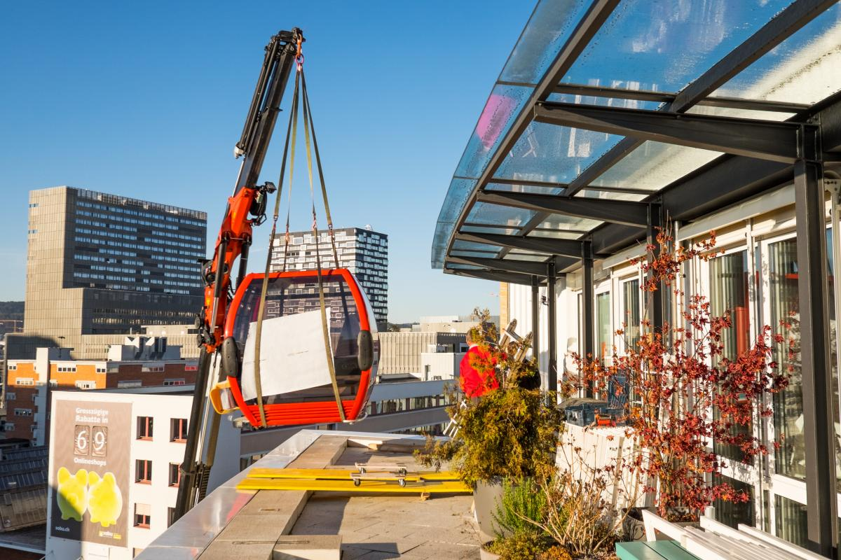 Amazee Gondola Delivery Through the Roof Terrace