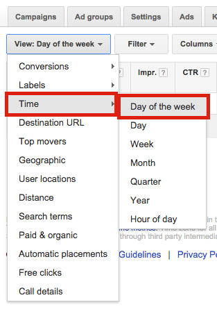 Day of the week AdWords Dimensions Tab