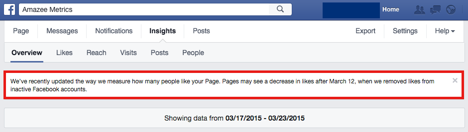 Facebook Insights: Message on the new way how Page likes are measured