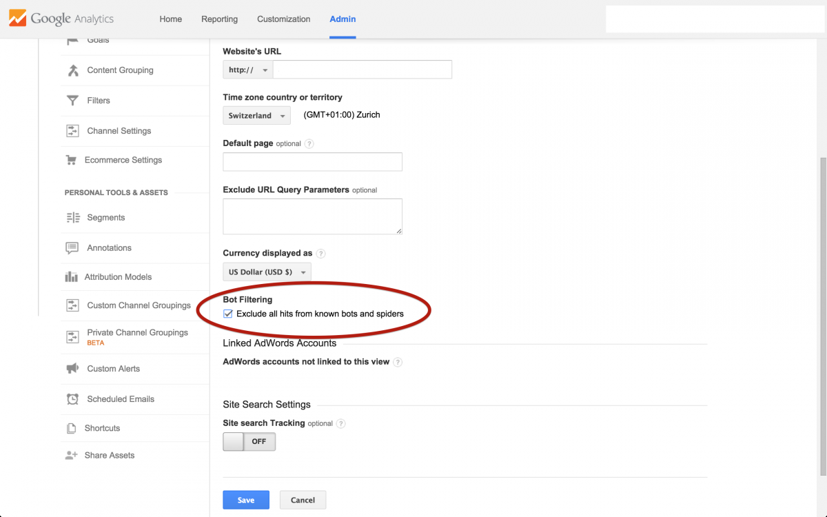 Google Analytics bot filtering option
