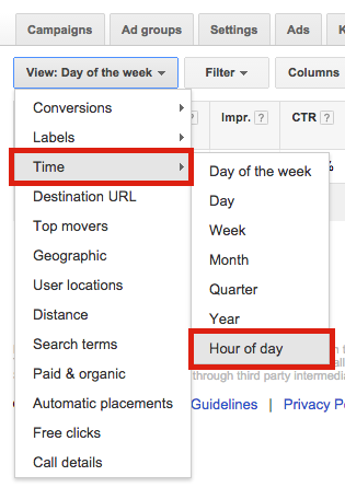Hour of Day AdWords Dimensions Tab