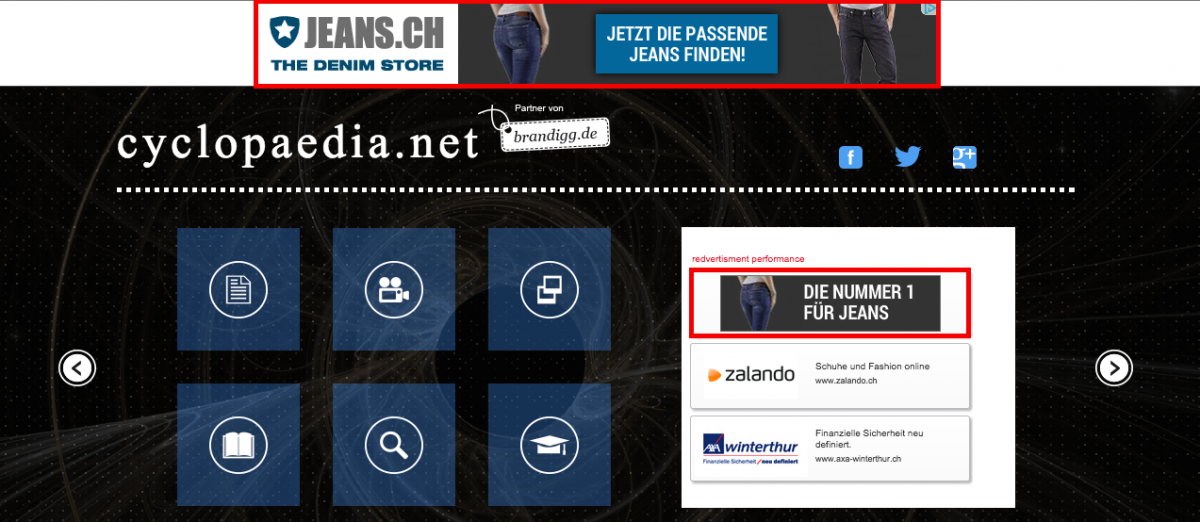 Remarketing ads of JEANS.CH