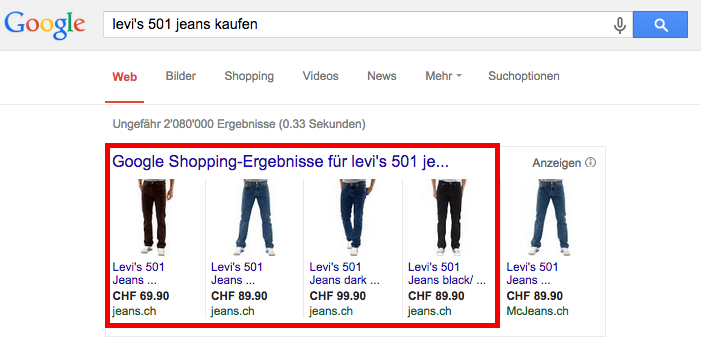 Shopping ads of JEANS.CH