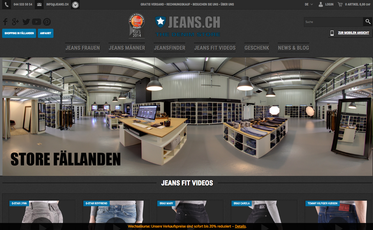 JEANS.CH home page of the website