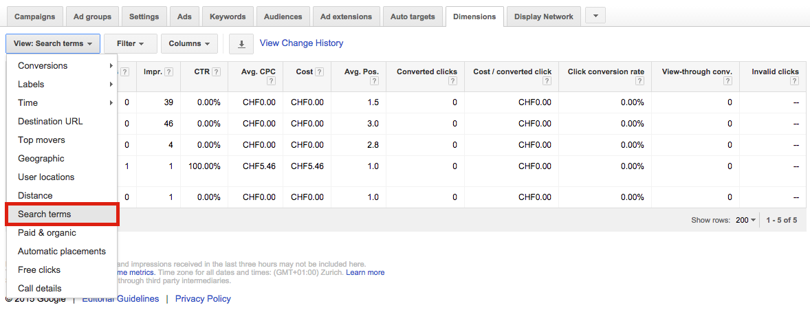 Search Terms AdWords Dimensions Tab