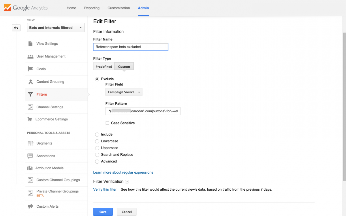 Google Analytics Example Spam Filter