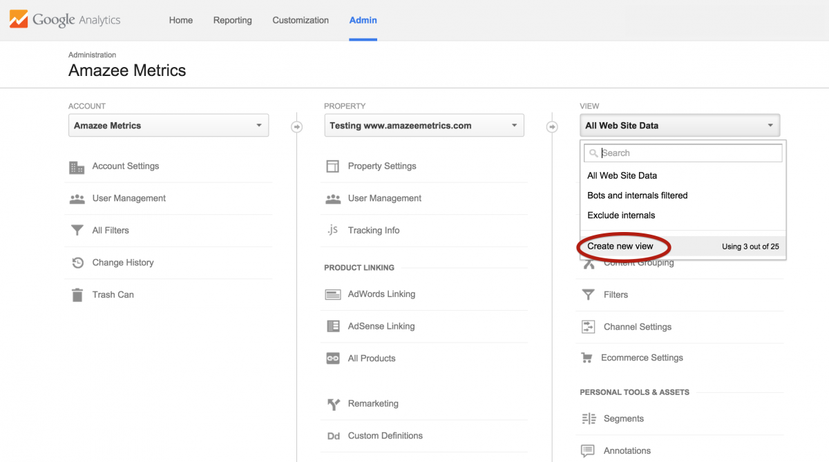 Create a new View in Google Analytics Admin