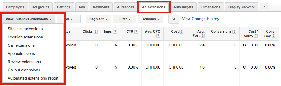 Google AdWords Ad Extensions Interface