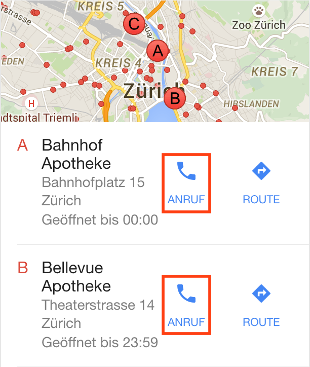 Google Map Results on Mobile with Call Button