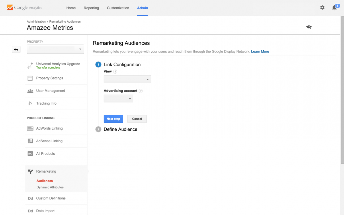 Remarketing Audiences Link Configuration