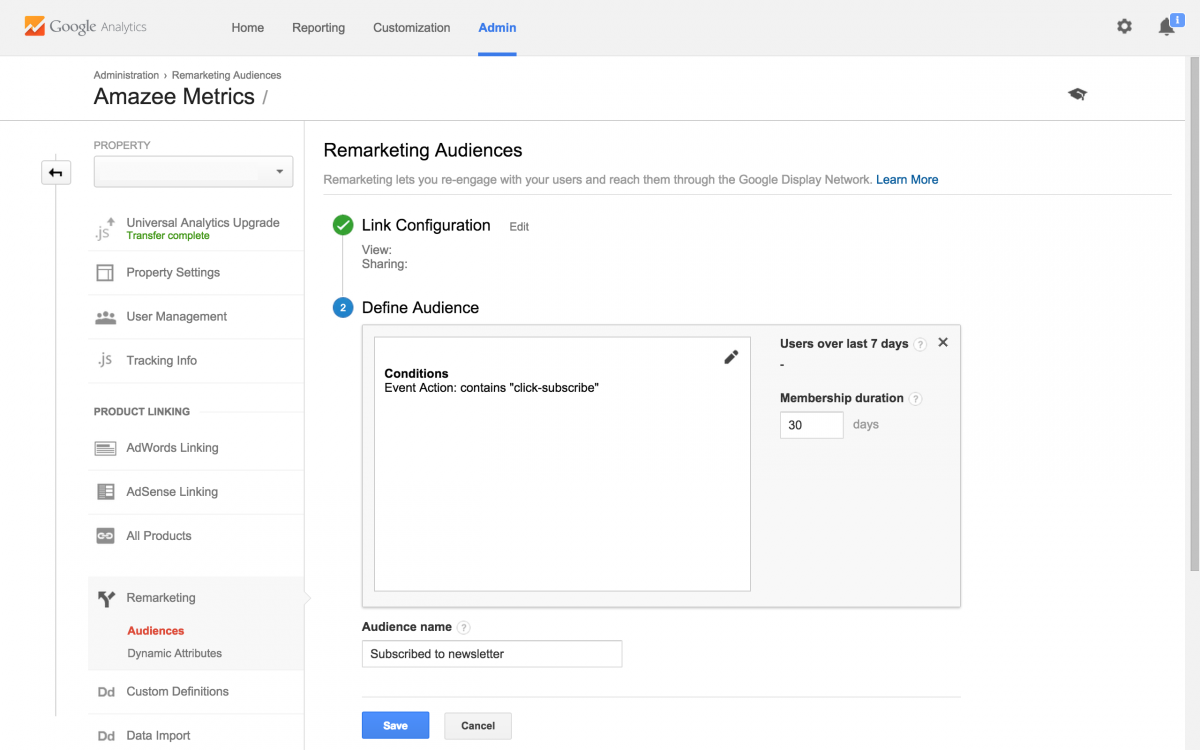 Remarketing Audience Membership duration