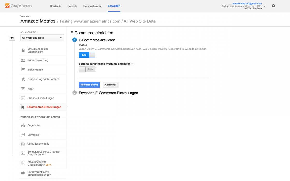 Enable Ecommerce on in Google Analytics