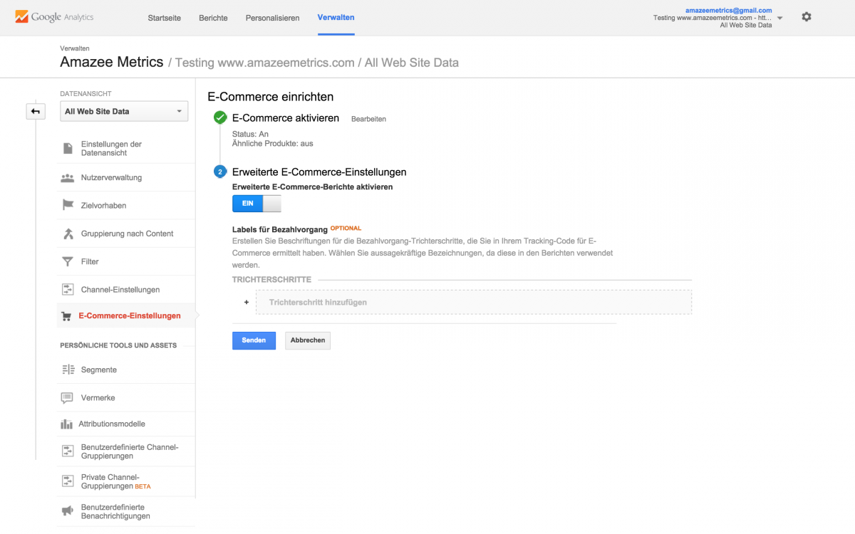 Enable Enhanced Ecommerce Reports in Google Analytics