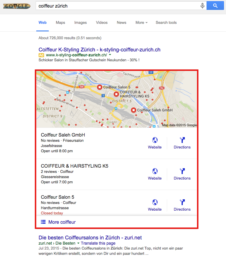 """Google Local Snack Pack for a search for """"Coiffeur Zürich"""" on desktop"""