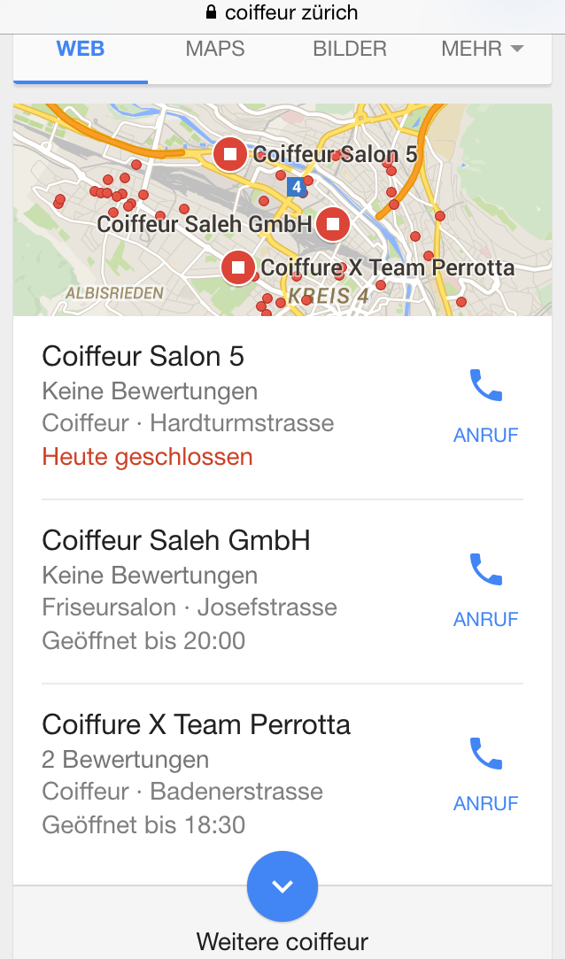 Google Local Snack Pack for a search for a hairdresser in Zurich on a smartphone