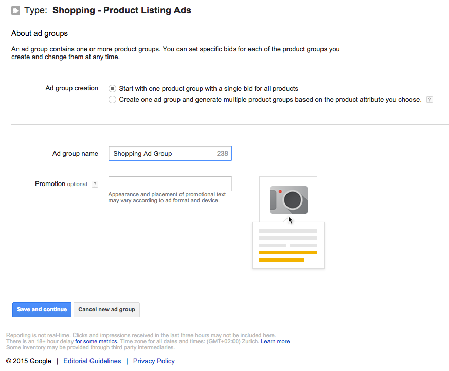 Google Shopping Ad Group