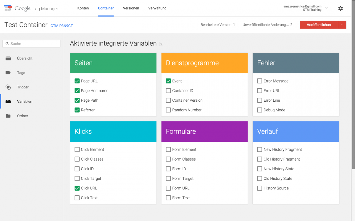 Google Tag Manager Version 2 Variablen