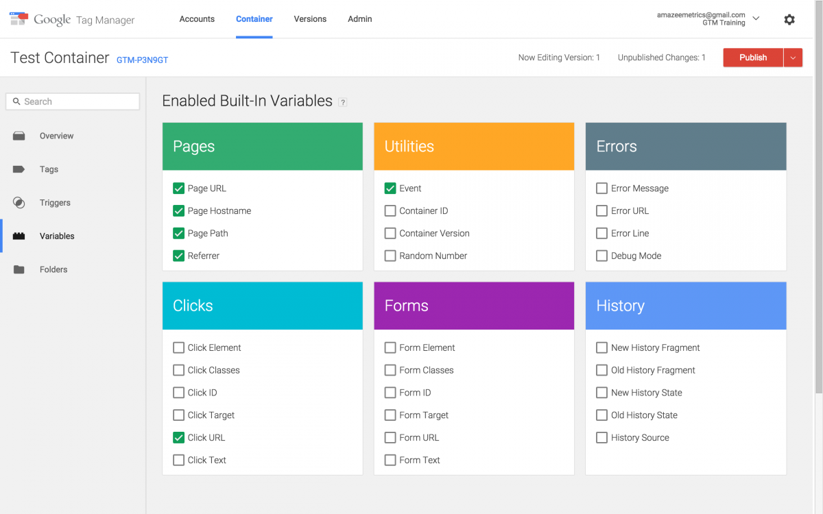 Google Tag Manager Version 2 variables