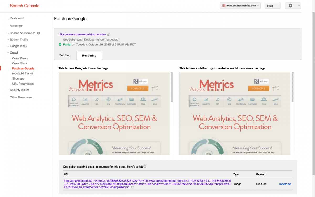 Google Webmaster Tools Fetch and Render Results Comparison