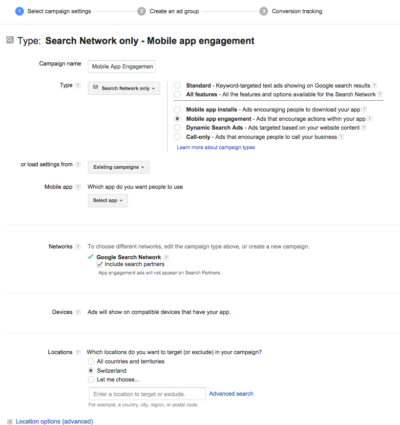 AdWords Mobile App Engagement
