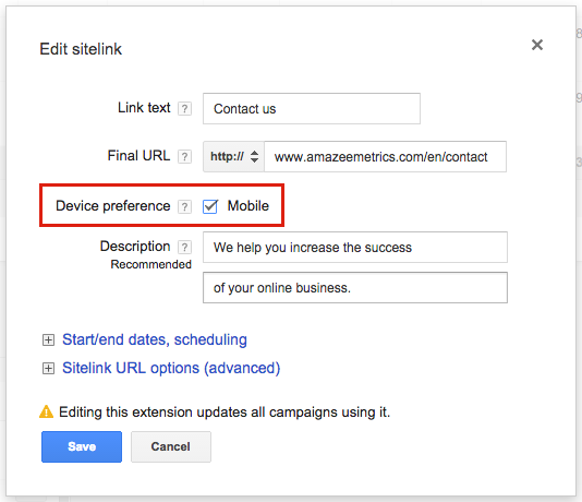 AdWords mobile ad extension