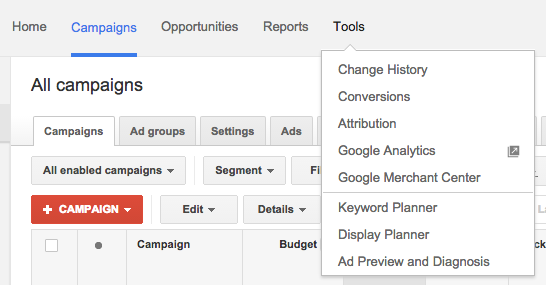 AdWords Display Planner Navigation