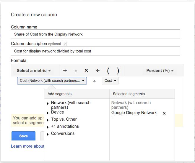 AdWords Custom Formulas - Screenshot share of cost for the display network