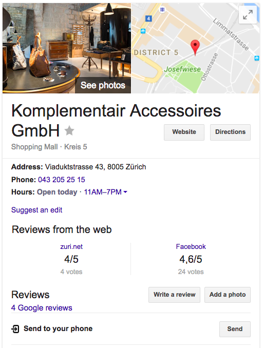 Google My Business Profil im Google Knowledge Graph