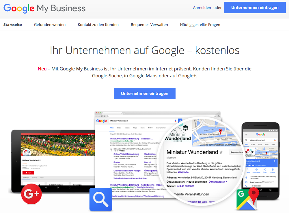 Google My Business Startseite