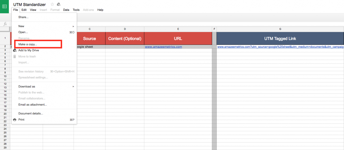 How to copy the Google Sheet