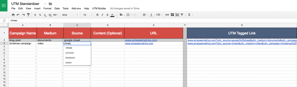 How to create a UTM link in the Spreadsheet