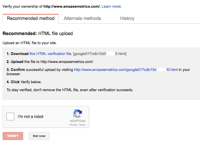 An HTML-Upload is the recommended method for verifying your Search Console
