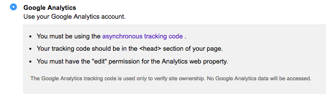 Google Analytics, another way to verify the Search Console.