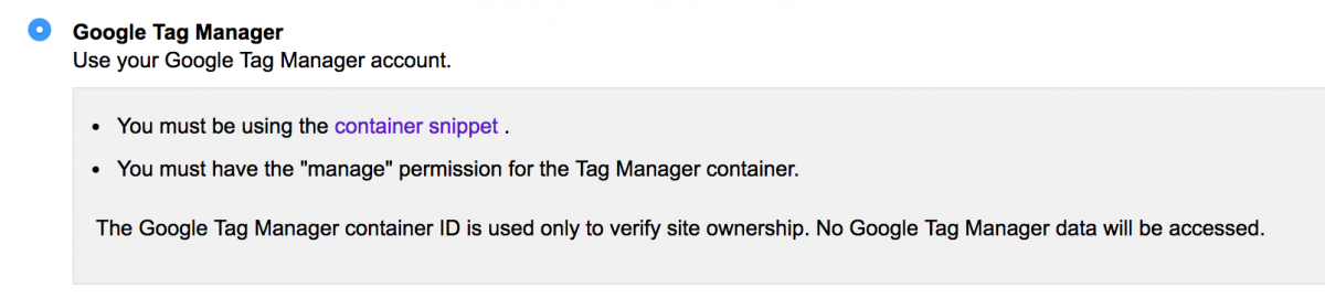 You can also use GTM to verify your website in the Search Console.