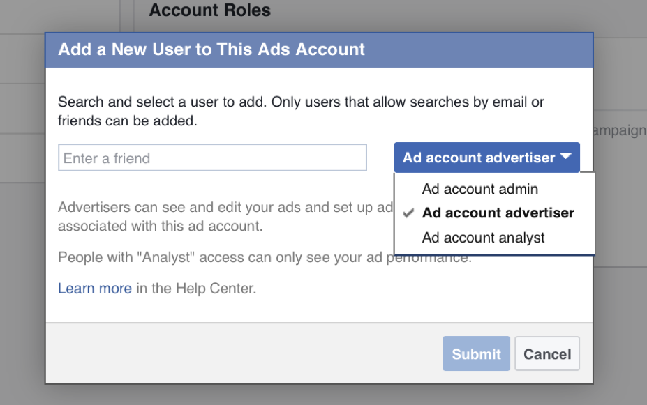 Facebook Business Mananger Ad Accounts Roles