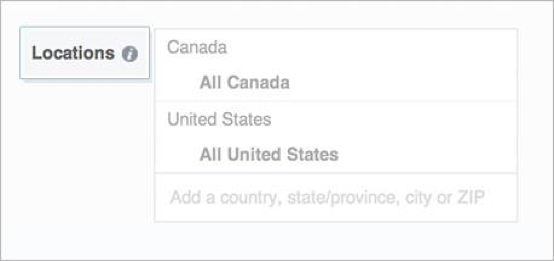 Facebook location and demographics targeting
