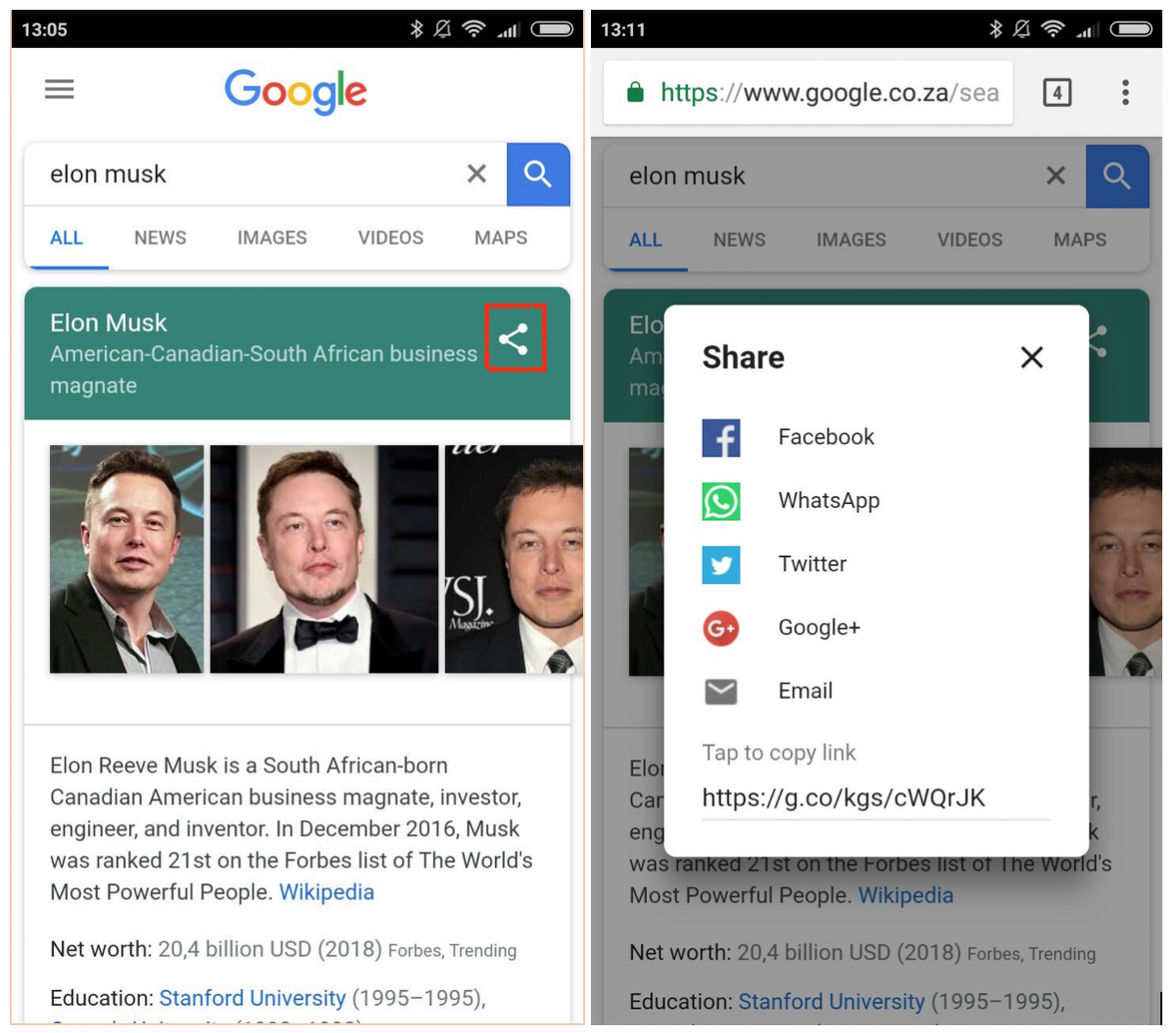 This screenshot shows that Google now aggregates the results and has enabled sharing it.