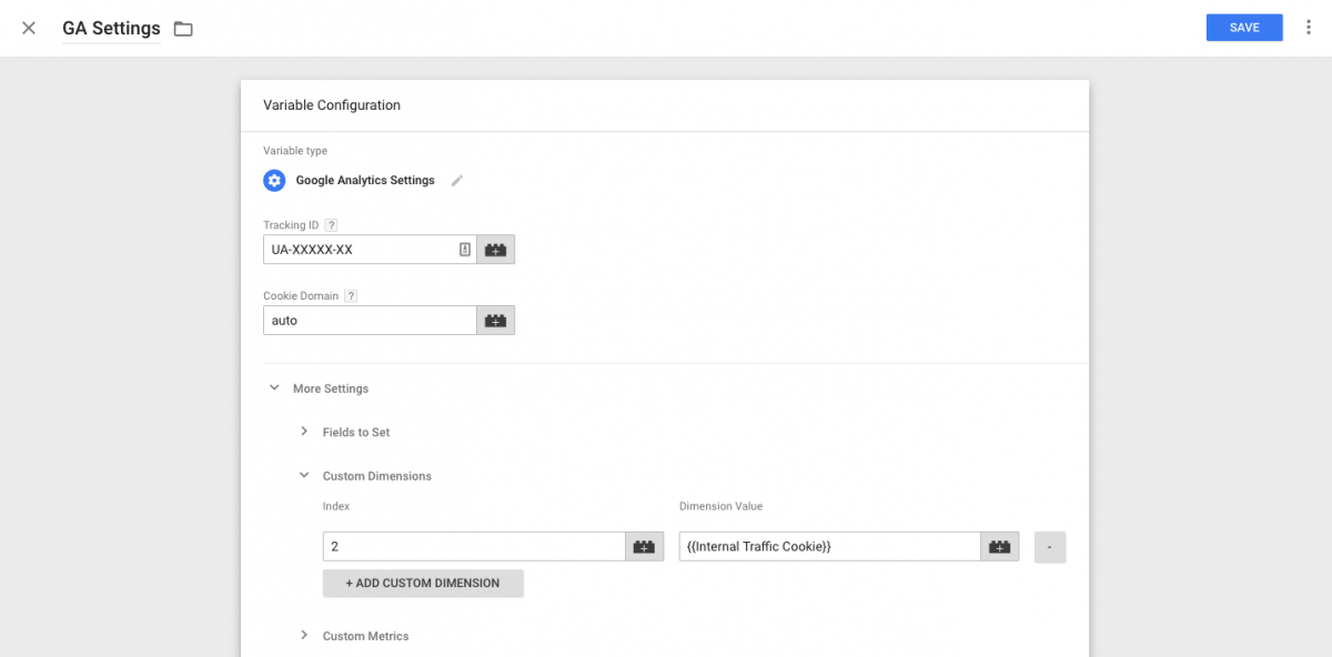GA Filter - Google Analytics Settings Variable