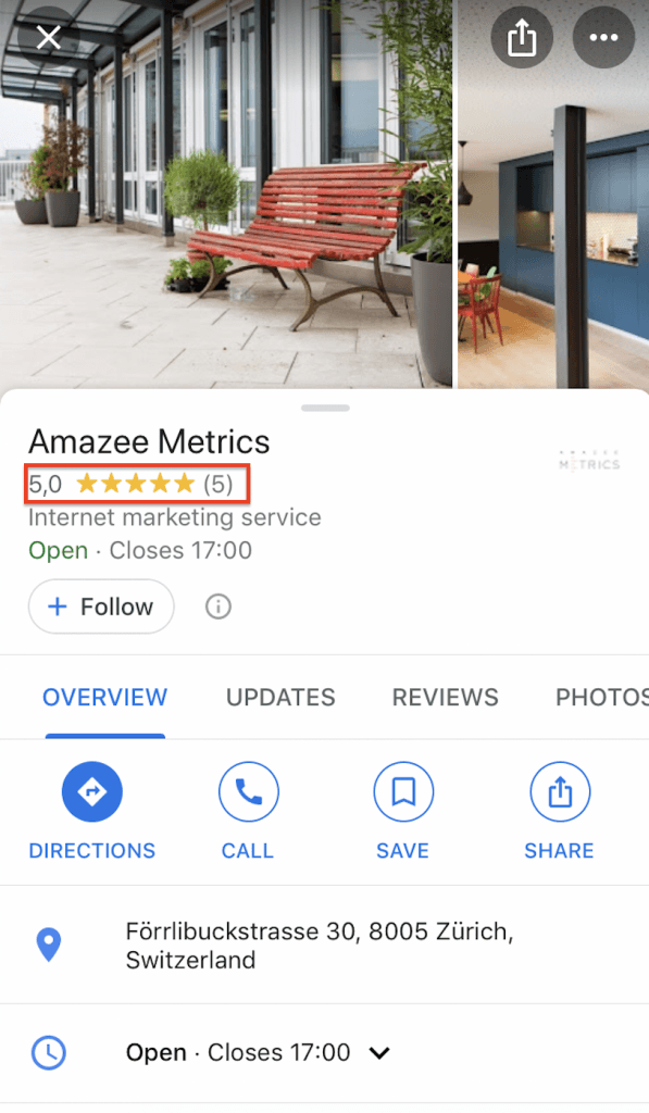 Google My Business entry Amazee Metrics Reviews