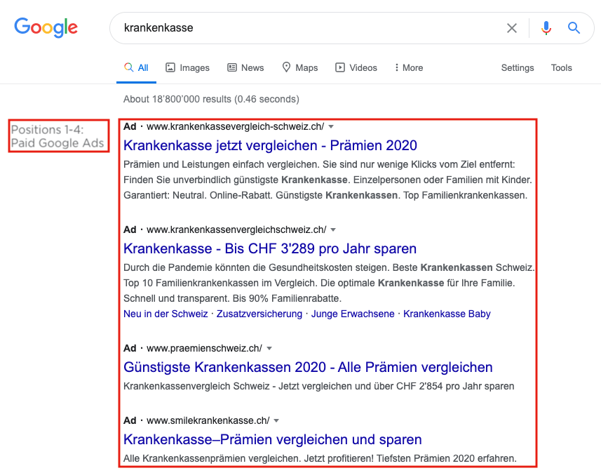 Google Search for Health Insurance Positions 1-4: Google Ads