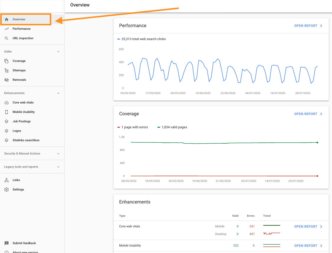 Google Search Console Overview Reports