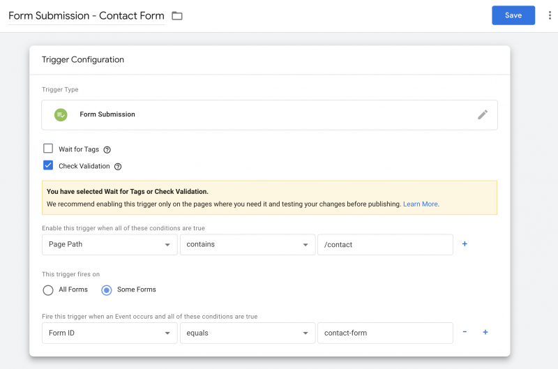 The Google Tag Manager Form Submission Trigger configuration page.