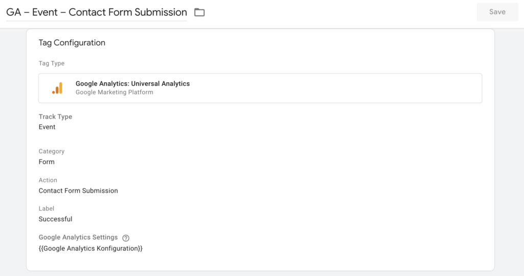 Contact Form Submission Event Tag in Google Tag Manager