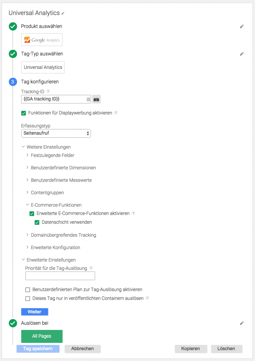 Enhanced Ecommerce features in Google Tag Manager
